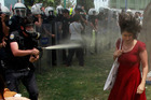 The image of Turkish police tear-gassing Ceyda Sungur in Taksim Square has gone viral. Photo / Reuters