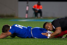Wesley Fofana evades Julian Savea's tackle to score France's only try last week at Eden Park. Picture / Greg Bowker