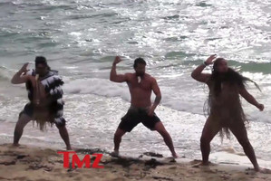 Jokes made by US gossip website TMZ.com about a video clip of Game of Thrones actor Jason Momoa (centre) doing a haka on an Auckland beach have upset a Maori leader. Photo / Supplied