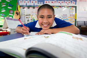 Owairaka District School pupil Havea Fisiihoi, aged 10, has improved considerably in maths. Photo / Richard Robinson
