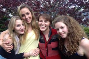 Meg Theriault (second from right) with friends in Boston (from left) Emma Rosenbaum, Caroline Barnaby and Sidney Greenley-Kois is recovering from the crash. Photo / APN