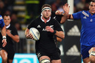 Kieran Read in full flight during yesterday's test. Photo / Getty Images