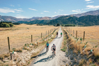 Hayden Donnell and friends ride the Queenstown cycle trail. Photo / Jim Pollard