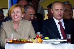 Vladimir and Lyudmila Putin seldom appear together. Photo / AP