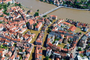 The flooded Elbe River swamps the old town of Meissen, eastern Germany.  Photo / AP