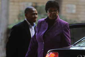 Winnie Madikizela-Mandela, former wife of former president Nelson Mandela arrives at the hospital in Pretoria. Photo / AP