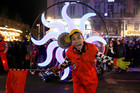 An artist of Sud Side association performs with 'the Parade of the lights' in ;Marseille. Photo / AP
