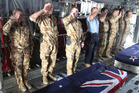 Soldiers pay their last respects at Bagram base. Photo / NZDF