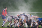 Steam comes off the forward pack during the France-Blues match at North Harbour Stadium. Photo / Brett Phibbs
