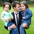 Hussain Sayed, a former interpreter for the NZ Defence Force in Afghanistan, with daughters Zakia (left), 4, and Madina, 5, after they were welcomed to New Zealand. Photo / Chris Gorman