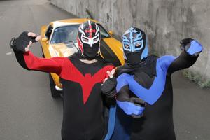 Flat Man and Quake Kid with their Camaro HBT. Photo / File