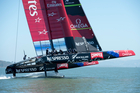Emirates Team New Zealand's high-powered AC72 catamaran in action. Photo / AP