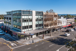 Exterior elevated view of building at 158 Jervois Rd on corner with John St in Herne Bay.