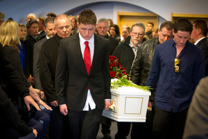 Matt Christison and brother Daniel Christison during the funeral of their mother Gail Bowers. Photo / Glenn Taylor