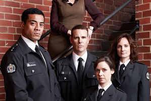 Kiwi actors Robbie Magasiva, left, and Aaron Jeffery play prison guards. Photo / Supplied