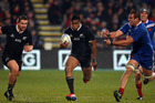 Julian Savea of the All Blacks escapes the tackle of Yoann Maestri of France during the International Test match between the New Zealand All Blacks and France. Photo / Getty Images.