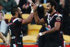 Dane Nielsen of the Warriors (R) and Thomas Leuluai of the Warriors celebrate a try during the round 13 NRL match between the Warriors and the Manly Sea Eagles. Photo / Getty Images