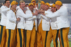 The Australian team celebrate after beating the Black Caps in the 2009 ICC Champions Trophy. Photo /Getty Images