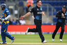 Mitchell McClenaghan of New Zealand celebrates bowling Dilshan Tilakarathne. Photo / Getty Images