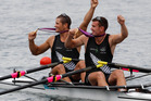 Nathan Cohen and Joseph Sullivan celebrate winning gold in London. Photo / Mark Mitchell