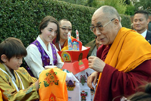 The Dalai Lama is greeted at the Dhargyey Buddhist Centre yesterday. Photo / ODT