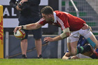 Alex Cuthbert of the Lions scores the first try during the match between Combined Country and the British & Irish Lions. Photo / Getty Images