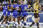 Raiders players celebrate after a try by Joel Thompson. Photo /Getty Images