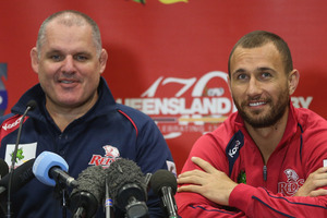 Ewen McKenzie and Quade Cooper. Photo / Getty Images