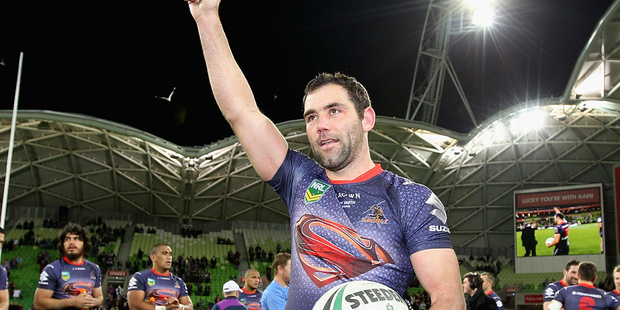 Cameron Smith of the Storm thanks fans  after playing in his 250th NRL game. Photo /Getty Images