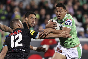 Josh Papalii was involved in one of the more unusual tries of the season, earning himself a falcon. Photo / Getty Images