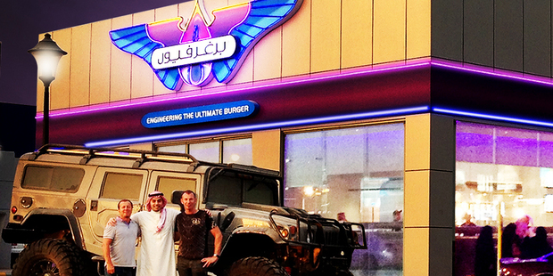 Chris Mason, Hamad Albuali (Abdullah Fouad) & Josef Roberts in front of the new BurgerFuel store in Riyadh.