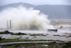 Huge waves crash at Petone Beach, near Wellington. Photo / Bob Beale