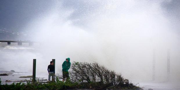 Loading Huge waves pounded the shoreline at Petone Beach, near Wellington, today. Photo / Bob Beale