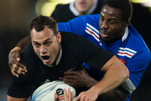 Israel Dagg during the All Blacks first test against France. Photo / Greg Bowker