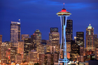 Seattle Space needle and cityscape at night. Photo / Getty Images