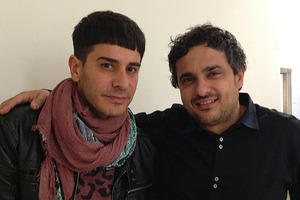 Danny Pato with Angelo Seminara at hairdressing masterclass in Paris.