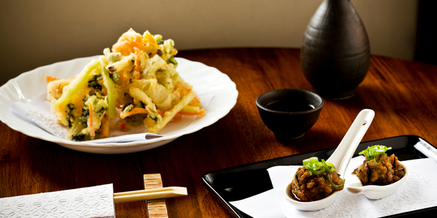 The prawn and vegetable Kaki-age with deep fried tofu appetizer currently on the menu at Japanese restaurant Sake 601. Photo / NZH