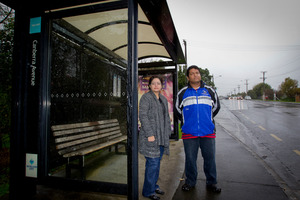 Ann Fernandes and Cloyd D'Mello are sick of late buses. Photo / Sarah Ivey