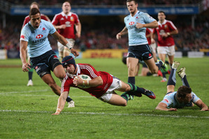 Wales fullback Leigh Halfpenny has impressed in a Lions jersey, scoring 30 points against the Waratahs. Photo / Getty Images