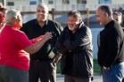 Maori Party candidate Na Raihania (centre), Maori Party co-leader Dr Pita Sharples and Maori Party MP Te Ururoa Flavell. Photo / Alan Gibson