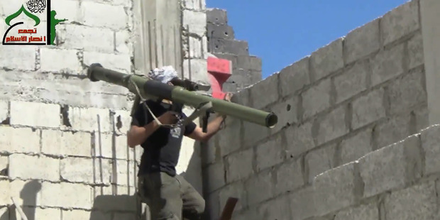 This fighter used the shoulder-fired missile to blow up a tank in Damascus, according to a video on Ugarit News, an online Syrian Opposition news outlet.