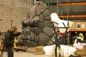 The face of the King Kong puppet is prepared for the Melbourne production of the King Kong musical.