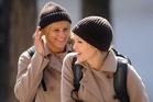 Stunt double Eunice Huthart with Angelina Jolie on the set of Salt.