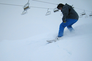 Alex Lucchese tests the snow on The Remarkables in Queenstown where the season opens today. Photo / Ben Kien