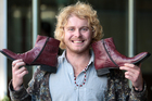 No more bare feet ... X factor contestant Tom Batchelor and his new dancing shoes. Photo / Doug Sherring