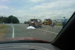 The Normanby crash scene where two men died. Photo / Facebook