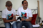 Sergio Chamorro, right, and friends put up Morris the cat as a candidate after they became disillusioned by politicians' empty promises. Photo / AP