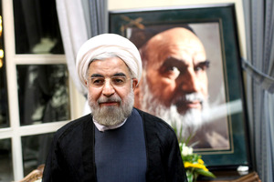 Hassan Rowhani visits the shrine of the late Ayatollah Khomeini. Photo /  AP