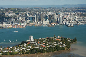 Auckland is a factory of vehicular traffic and over-priced suburbia teetering on an acne-scarred volcanic isthmus, says Beedoo. Photo / Brett Phibbs