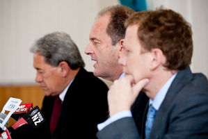 Opposition leaders (from left) Winston Peters, David Shearer and Russel Norman have lauded the manufacturing blueprint. Photo / Dean Purcell